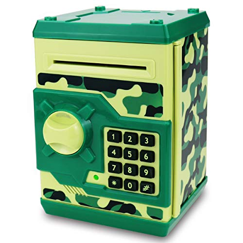 SAOJAY Kids Money Bank, Electronic Password Piggy Bank Mini ATM Cash Coin Money Box for Kids Birthday Toy for Children (Camouflage Green)