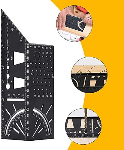 Conveniencia Aleación de Aluminio 45 ° 90 ° Ángulo de Escritura Regla 3D Woodworking Stop Point Gauge 3D De múltiples Fines (Color : 1pack)
