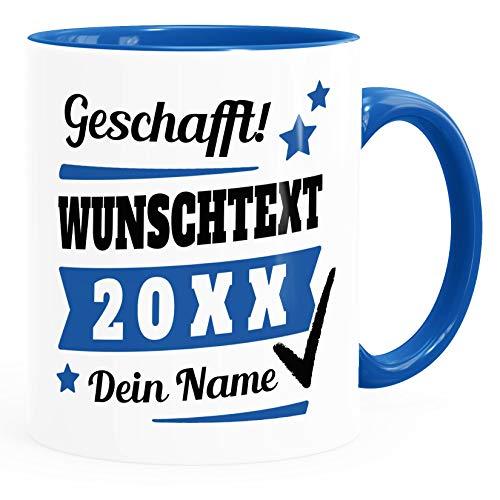 SpecialMe® Tasse mit Name personalisiert Geschafft! eigener Text Geschenk Abschluss-Prüfung inner-royal Keramik-Tasse