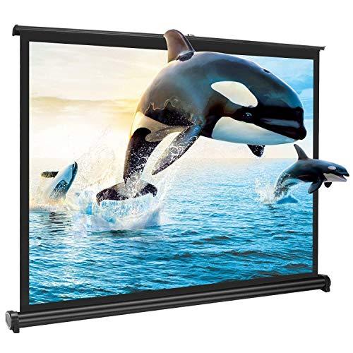 Yangers Écran de Projection Portable de 50 Pouces, écran de Table à Enroulable Home Cinéma Pliable Retractable avec Support pour présentation de réunion de Bureau en Plein air extérieur (Noir)