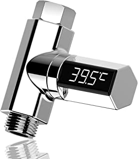 Goolfly Water Temperature Meter Monitor LED Display Faucet Shower Thermometer Home Water Flow Temperature Monitor