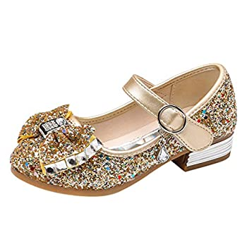 Viviplus Little Girl s Princess Shoes Bowknot Sequins Wedding Party Dress Shoes Low Heeled Mary Jane Flats for 3.5-12 Yrs