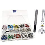 Ojales Metalicos Multicolor, Kit de Ojales 500 Piezas Ojales de Metal 5 mm Kit de Ojetes Ojales de Metal con Herramientas de Instalación para DIY Bricolaje Artesanía de Zapatos Ropa Bolsa 10 Colores