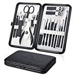 Keiby Citom Professional Stainless Steel Nail Clipper Travel & Grooming Kit Nail Tools Manicure & Pedicure Set of 18pcs with Luxurious Case (Black/White)