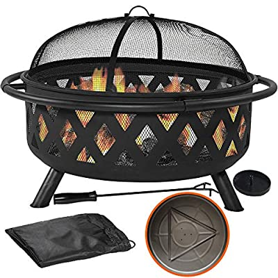 "36"" Outdoor Fire Pit Set - 6-in-1 Large Bonfire Wood Burning Firepit Bowl - Spark Screen, Fireplace Poker, Ash Plate, Drainage Holes, Metal Grate, Waterproof Cover - For Outdoor Backyard Terrace Patio"