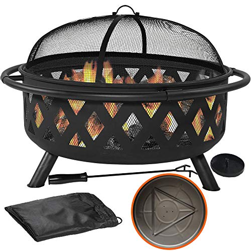 """36"""" Outdoor Fire Pit Set - 6-in-1 Large Bonfire Wood Burning Firepit Bowl - Spark Screen, Fireplace Poker, Ash Plate, Drainage Holes, Metal Grate, Waterproof Cover - For Outdoor Backyard Terrace Patio"""