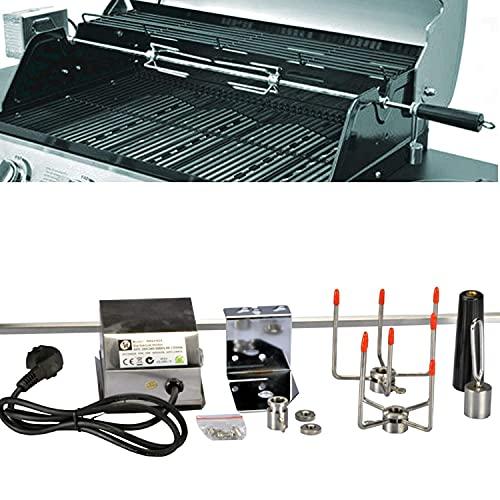 DRULINE Edelstahl Drehspieß Grillspieß Universalspieß für Gasgrill Grill mit Motor 240V 10x10mm