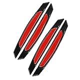 WeFoonLo 4 Piezas Etiqueta engomada Auto del Protector del topetón de la Puerta del Coche de la Fibra de Carbono Negra para la camioneta Pickup de SUV del Coche (Rojo)