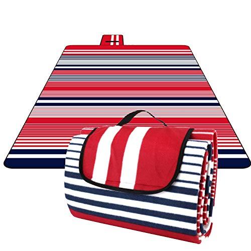 Homfa 200 x 200 cm Picknickdecke XXL Stranddecke aus Fleece Wasserdicht groß Faltbar Leicht mit Tragegriff Matte Decke für Camping Picknick Reise (Rot-Blau Streifen)