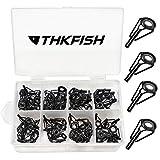 THKFISH Kit de réparation de Canne à pêche Kit de réparation de Pointe de Tige Conseils de céramique Acier Inoxydable au Carbone Guides de Tige Noir - Cadre 80pièces