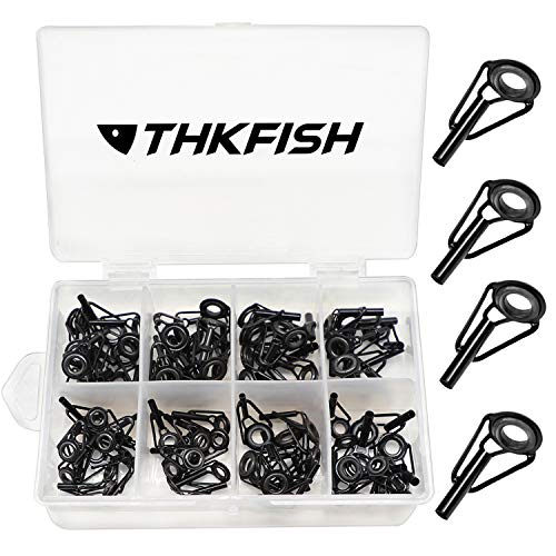 thkfish Fishing Rod Tip Repair Kit Rod Repair Kit Small Freshwater Stainless Ceramic Repair Fishing Kits Black 80pcs