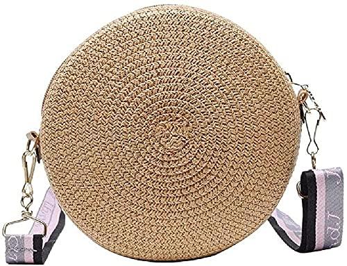 KKLLHSH Femmes dame fille petit tissage de paille épaule ronde sac à bandoulière cartable tissé sac à main en peluche sac chaise, sacs de plage d'été 17x8x17cm