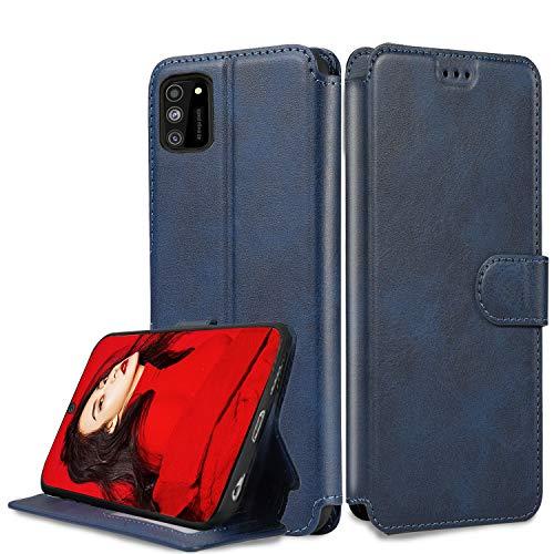 LeYi Hülle für Samsung Galaxy A41 Mit HD Folie Schutzfolie,Leder Wallet Etui Handyhülle Magnet Tasche Slim Silikon Soft Grip Bumper TPU Schutzhülle Cover Case für Handy A41 Matt Blau