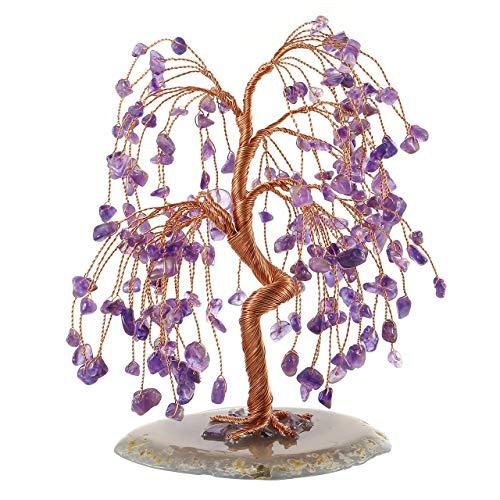 JSDDE - Figuritas de árbol de Cristal curativo con Base de ágata Natural, Adorno de árbol de Dinero Feng Shui, Amatista
