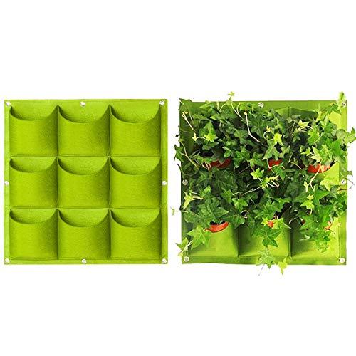 Yuccer Bolsa Vertical Colgante, 9 Bolsillos Decoración Jardín de Hierbas Planta Pared Interior Exterior (Green)