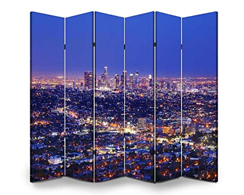Wood Screen Room Divider view of the downtown los angeles skyline at night pink clouds stock Folding Screen Canvas Privacy Partition Panels Dual-Sided Wall Divider Indoor Display Shelves 6 Panels