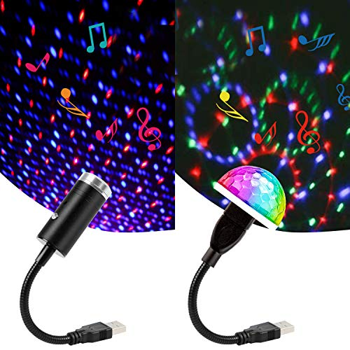 Sound Activated USB Star Light and USB Mini Disco Lights, Aevdor Car Star USB Night Lights, Romantic Car Roof Interior Star Atmosphere Decorations Light for Bedroom, Car, Party, Bedroom, Ceiling