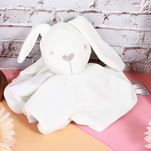 Toalla de juguete suave y reconfortante, toalla calmante no tóxica, felpa corta duradera para reconfortar el hogar de 0 a 2 años de edad(White rabbit)