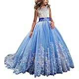 Gzcdress Lace Princess Pageant Flower Girl Dresses Kids Tulle Beaded Prom Party Ball Gown 01 Royal Blue