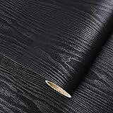 GLOW4U Papel de contacto de madera negra con textura de grano de vinilo autoadhesivo para estantes de cocina, encimera, encimera de mesa de 15.7 x 196 pulgadas