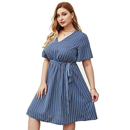 XYQB Sen weibliche Linie Kleid bedruckter Baumwolle V-Ausschnitt gestreiftes Kleid literarisches Temperament Damen Sommerkleid,Blau und Grau,3XL