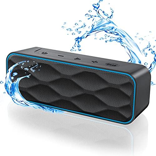 Bluetooth Lautsprecher 20W, Musikbox 36 Stunden Spielzeit Bluetooth 5.0 IPX7 Wasserschutz Stereo Sound Intensiver Bass, Kabelloser Bluetooth Lautsprecher für Handy, PC, TV(Schwarz)