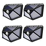 100 Led Solar Motion Sensor Lights Outdoor, Eicaus Wireless Weatherproof Solar Powered Lights for Steps Yard Garage Porch Patio, IP65 Waterproof with Wide Angle (4 Pack)