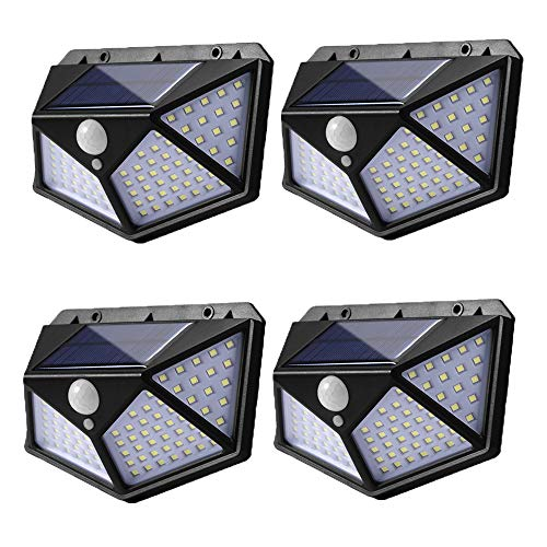 100 Led Solar Motion Sensor Lights Outdoor, Eicaus Wireless Weatherproof Solar Powered Lights for Steps Yard Garage Porch Patio, IP65 Waterproof with Wide Angle (4 Pack) (Black)