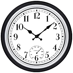 45Min 12 Inch Outdoor/Indoor Round Classic Clock Retro Quartz Decorative Wall Clock (Silver Fahrenheit)