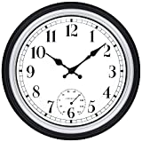 45Min 12 Inch Indoor/Outdoor Retro Round Waterproof Wall Clock with Thermometer, Silent Non Ticking Battery Operated Quality Quartz Wall Clock Home/Patio Decor(Silver F)