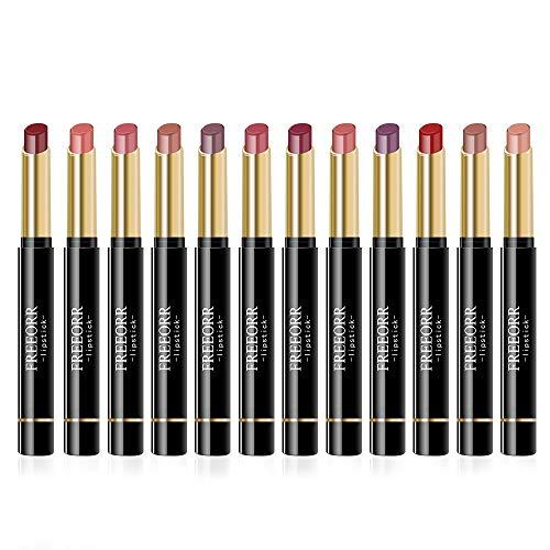 Ownest Matte Lipstick Set, 12PCS Nude Moisturizer Smooth Lipstick, Impermeable líquido Lápiz labial de larga duración Mate Maquillaje Velvet Lip Gloss Cosmético