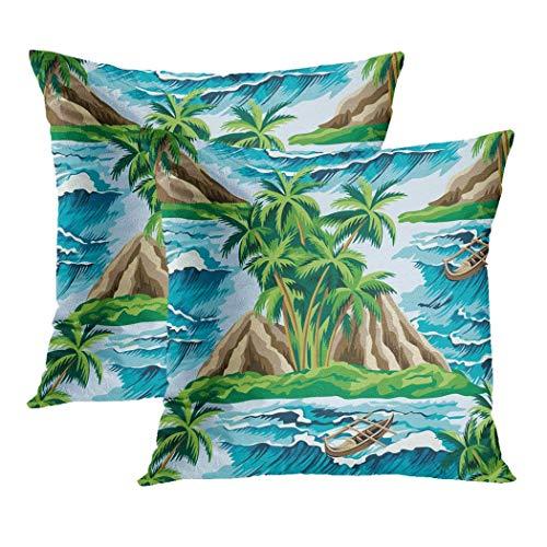 LLZQJ-DAA Island Set van 2 Kussenslopen Tropische Zee Golven en Palmen Groene Boot Polyester Verborgen Rits Kussenslopen Kussenslopen voor Woonkamer Slaapbank es
