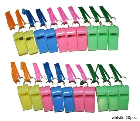 24 fischietti in plastica economici con laccetto