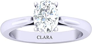 CLARA Made with Swarovski Zirconia 92.5 Sterling Silver Oval Solitaire Ring Gift for Women and Girls