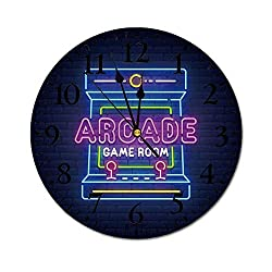 ZJLVMF Wall Clock Silent & Non-Ticking Clock PVC Arcade Games Neon Sign, Bright Signboard, Banner. Game Logo Neon, Emblem for Home Office School Decorative Round 10 SW30944