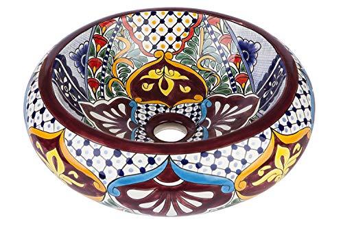 Cerames Leonor - Mexikanische Rund Aufsatzwaschbecken | 40 cm Keramik Talavera klein Waschbecken aus Mexiko | Buntes Deko motiven