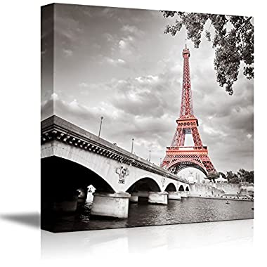wall26 Canvas Prints Wall Art - Eiffel Tower in Paris, France | Modern Wall Decor/Home Decoration Stretched Gallery Canvas Wrap Giclee Print. Ready to Hang - 24  x 24