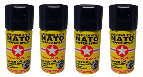 4 Dosen Pfefferspray 40ml NATO OC Pfeffer KO Spray Selbstverteiligung Abwehrspray MADE IN GERMANY