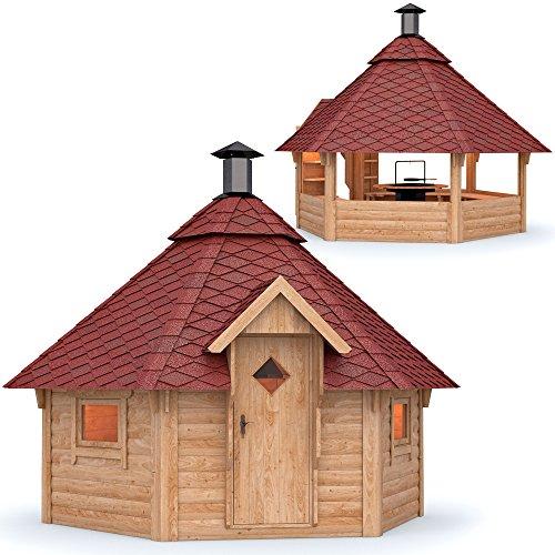 Grillkota Pavillon Dacheindeckung wählbar inkl. Grillanlage ca. 9m² (Rote Schindel)