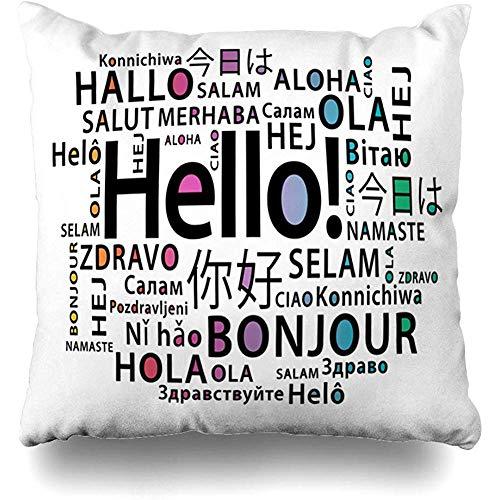 Fundas de almohada de tiro 45X45Cm Idiomas Bonjour Hola Diferente Traducir Clase Inglés Extranjero Francés Decoración del hogar Funda de cojín Funda de almohada