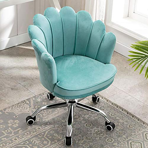 Nileco Velvet Home Office Chair,Ergonomic Makeup Computer Chair 360° Swivel,Upholstered Desk Chair,Adjustable Petal Accent Chair for Vanity Living Room Bed Room-Blue 44x43x38cm(17x17x15inch)