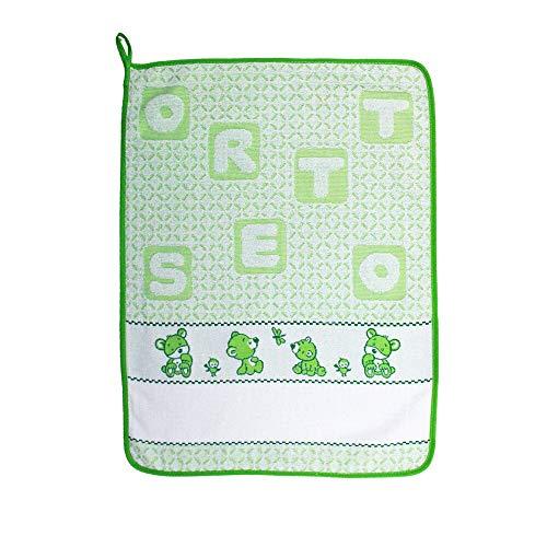 Toalla para guardería de bordado de osito de rizo – para guardería y escuela infantil con banda de etamine para bordar el nombre, 100% algodón, fabricada en Italia (verde)