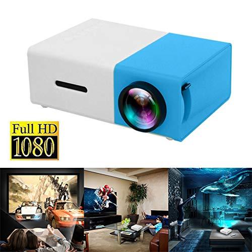 Mini Heimkino Beamer, 400 Lumen Video Projektor, Native 1080P LCD Beamer Full HD, Heim/Berufsprojektor für Smartphone/PC/TV-Box/Laptop (Blau)