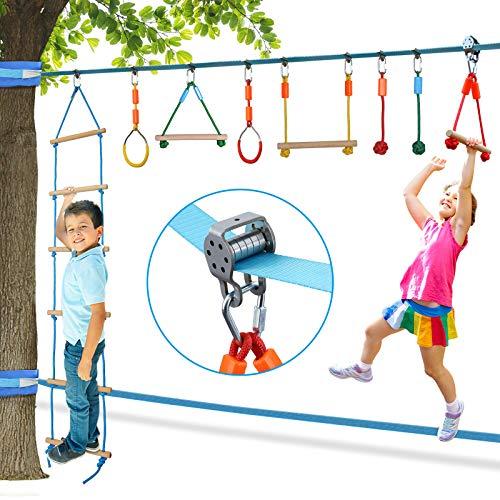Vanku Slackline Ninja Linea da 15m per bambini, con carrucola e Kit da Corsa ad Ostacoli sospeso,...