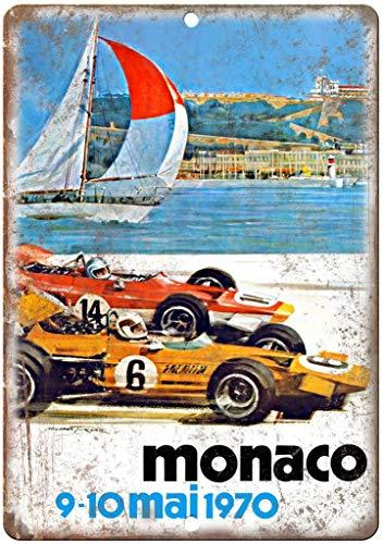 Monaco Mai Formula One Italy Blechschild Retro Blech Metall Schilder Poster Deko Vintage Kunst Türschilder Schild Warnung Hof Garten Cafe Toilette Club Geschenk