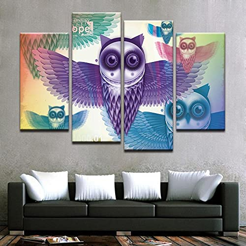 GSDFSD 4 Piece Canvas Wall Art Modern 4 Pieces Owl Abstract Canvas Home Deco Art Wall Print Modular Picture,Children's Room Printed Wall Canvas Deco 160X100 Cm