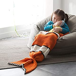 Best Quality 2019 Orange Fish Scales Knitted Mermaid Tail Blanket Cashmere Like Tv, Mermaid Tail Used - Coral Table Runner, Black Silver Fabric, Fantasy Blankets, Sundance Fingerless Gloves