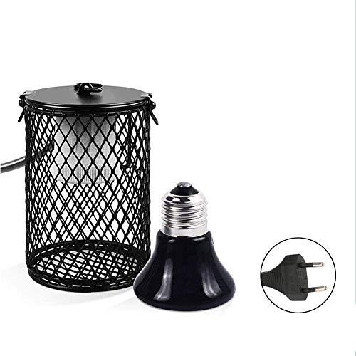 azurely Haustier-Heizlampe, Reptilien-Heizlampe Haustier-Verbrühungsschutz-Keramik-Infrarot-Heizlampe mit Schutzgitter für Eidechsen-Schildkröten-Kaninchen-Hamster