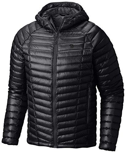 Mountain Hardwear Mens Ghost Whisperer Insulated Down Water Repellent Jacket with Hood - Black - M