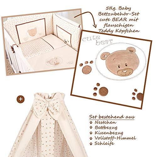 Ensemble d'accessoires pour bébé comprenant 5 accessoires de lit Motif ourson Teddy Beige Parure de lit pour bébé en coton certifié Öko-Tex Standard